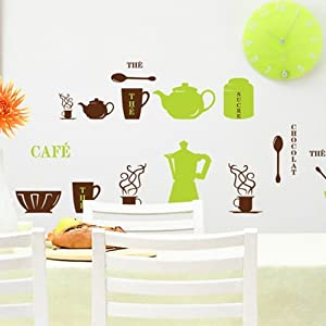 Design The Cafe Chocolate Word Cups Bowls Pots Spoons Wall Sticker DIY Super for Kitchen Wall Decal from New Design