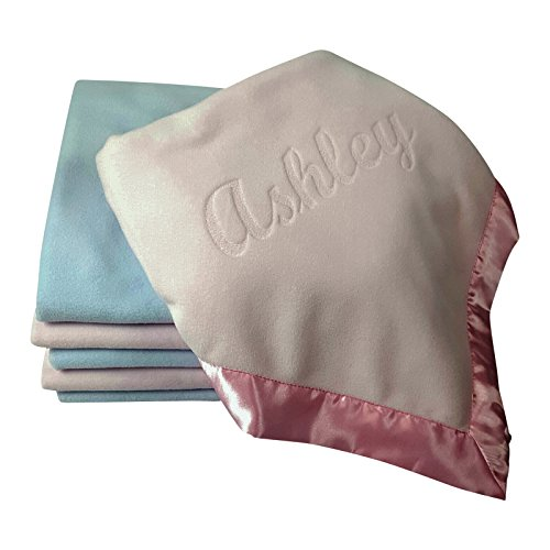 Large Personalized Baby Blanket (Pink) 36x36 Inch, Wide Satin Trim, 200 gsm Fleece (Personalized Newborn Girl compare prices)