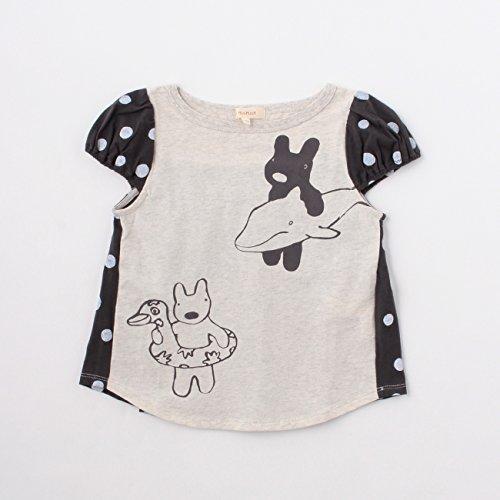 (ハッシュアッシュ)HusHusH ドット切り替えプリントTシャツ(リサとガスパール) ライトグレー(011) 10(100cm)