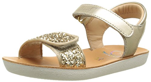 ShoopomGoa Velcro Piping - Sandali Bambina , Oro (Oro (Gold)), 25