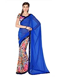 Designersareez Women Blue & Multi Color Faux Georgette & Crep Digital Print Saree With Unstitched Blouse (1725...