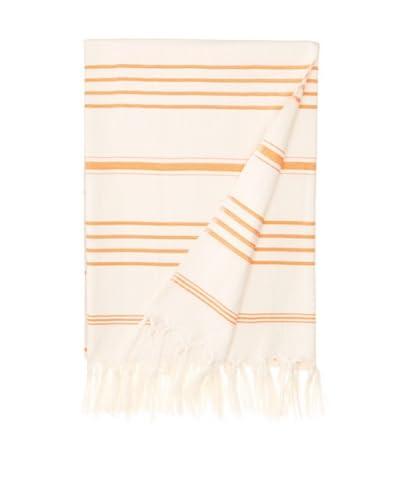Nomadic Thread Society Turkish Hammam Throw/Towel, Natural/Orange