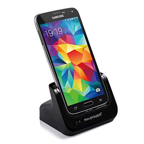 Ravpower® Samsung Galaxy S5 / Sv Charger Desktop Charging Cradle & Usb 3.0 Sync Transfer Dock (Detachable Case Plate, Compatible Without Or With A Slim-Fit Case) Black