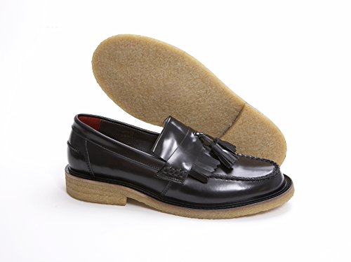 Rude Boy Nero In pelle slip on nappa Mocassino con crepe suola by Delicious Junction, Nero (nero), 42