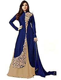 Royal Export Women's Bangalori Silk Blue And Beige Anarkali Semi-Stitched Salwar Suit