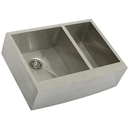 "Phoenix PH-4449 Zero Radius 30"" Apron Farmhouse Double-Bowl Curved Front 16-Gauge Stainless Steel Kitchen Sink"