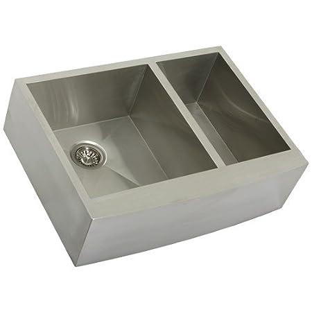 "Phoenix PH-4449 Zero Radius 30"" Apron Farmhouse Double-Bowl Curved Front 16-Gauge Stainless Steel Kitchen Sink"
