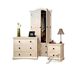 quartz bedroom furniture set cream french style bedside tables chest