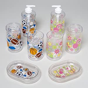 Amazon.com - BATH ACCESSORIES KIDS PRINT 4ASST STYLES GIRL OR BOY ...