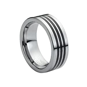 tungsten carbide high polished black rubber inlaid