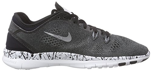 Nike Women's Free 5.0 Tr Fit 5 Prt Black/Mtllc Slver/White/Cl Gry Training Shoe 8.5 Women US
