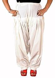 Tinnu G Women's Cotton Patiala Salwar (TGFPS1412_White_Free Size)