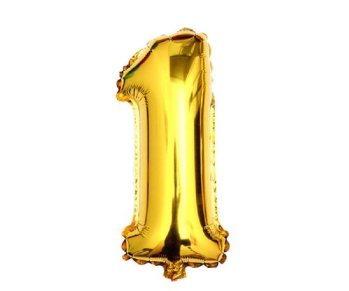 "Gold and silver , 16"" Numbers 0-9 foil balloons. Birthday / Party balloons. Q1501gold16""(1) - 1"
