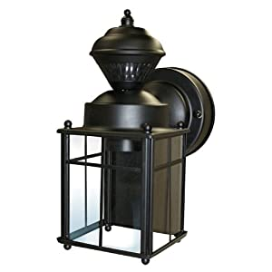 Heath/Zenith SL-4132-BK 150-Degree Bayside Mission Style Motion Sensing Decorative Security Lantern, Black