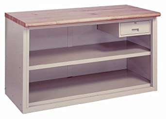 "Lyon BB2830 Steel Top Pre-Engineered Cabinet Work Bench with 1 Shelf and Drawer, 60"" Width x 28"" Depth x 34"" Height, Wedgewood Blue"