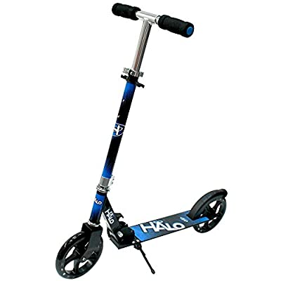 Halo(ハロ) Big Wheels Scooter キックボード キックスケーター [折りたたみ式フットブレーキ付ウィールAbec 5] … (ブルーブラック)