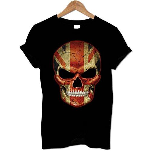 Bang Tidy Clothing Men'S Evil Union Jack Flag Skull T Shirt Black L