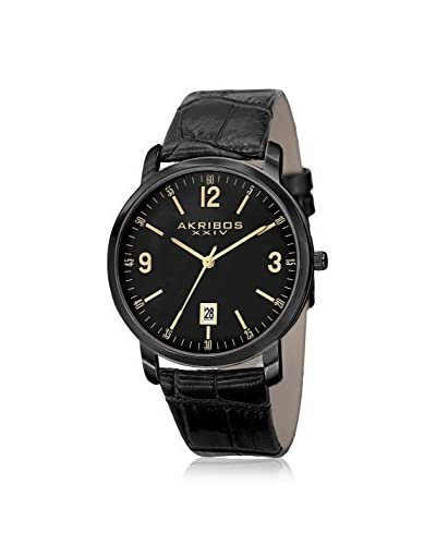 Akribos XXIV Men's AK780BK Black Leather Watch