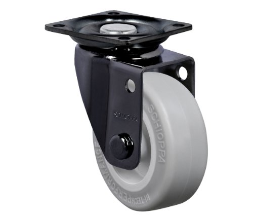 """Schioppa, Glap 210 Sp-Br, 2"""" (50 Mm) Swivel Non-Brake Caster, Non-Marking Very Soft Rubber Wheel, 70 Lbs, Plate 1-21/32 X 1-21/32"""" (Bh 1-1/4 X 1-1/4"""") front-532735"""
