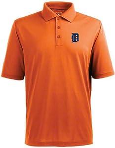 Detroit Tigers Pique Xtra Lite Polo Shirt (Alternate Color) by Antigua