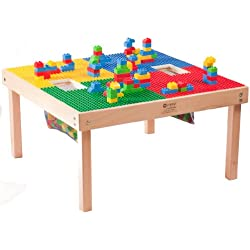 "Duplo Compatible Table 32"" x 32"" with Two Built in Building Block Storage Containers-Made in the USA - Solid Hardwood Legs and Full Side Frames BUILT TO LAST"