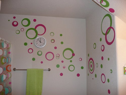"""Hot Pink & Lime Green Wall Circle Bubble Stickers Rings & Dots Decals 50+pc 11"""""""
