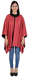 Akshay Women's Woolen Cape (Pink and Black)