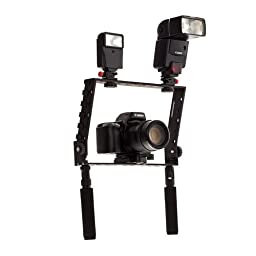 Flashpoint Camera Cage Bracket with Many Shoes - DSLR\'s and Compact (HD) Video Cameras. And for the Strobist