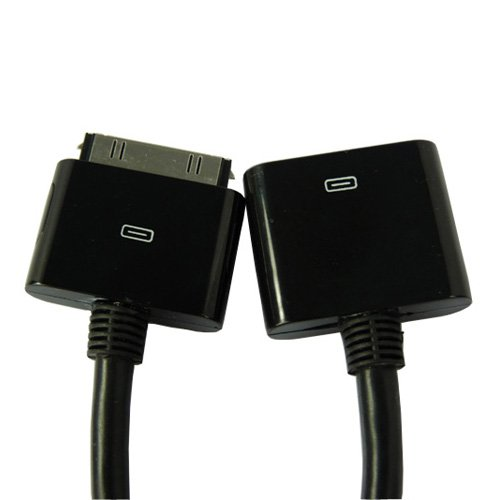Dock Connector Extender Extension Cable for Apple iPad iPhone iPod (Black)