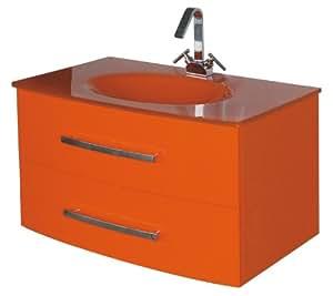 Luxo Marbre Beach 3320 O Beach Vanity With Tempered Glass Sink Orange Bathroom Vanities