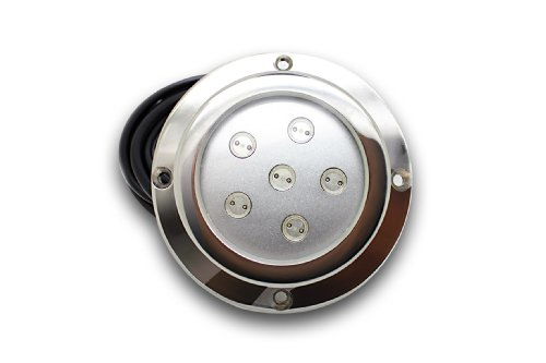 LED Underwater Surface Mount Boat Light 6*1w White Stainless Steel Housing Waterproof Ip 68 by Amarine-made