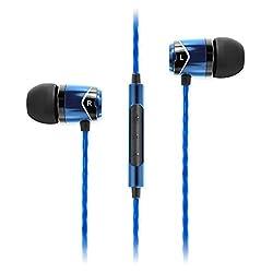SoundMagic E10C Headphones, Black and Blue