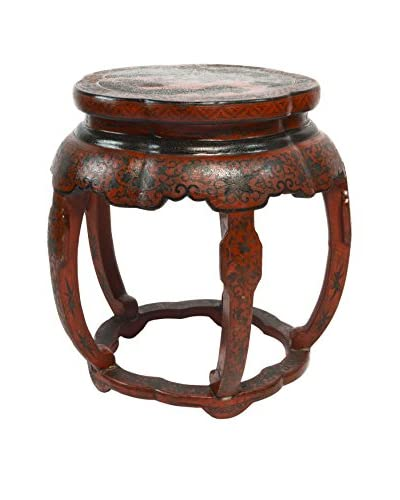 Hand-Painted Wooden Footstool, Dark Red