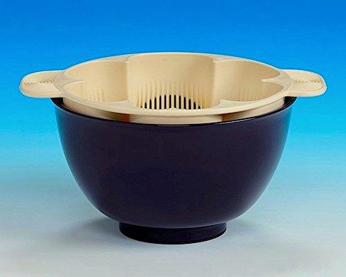 銀しゃり名人 茄子紺 手を濡らさず美味しいご飯が炊ける米とぎ器 1合〜5合用