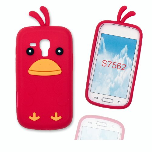 Silikoncase Hülle Etui Handytasche Handykondom Back Cover HÜHNCHEN / CHICKEN in rot für Samsung Galaxy Trend GT-S7560 / Duos GT-S7562 / Plus GT-S7580 inkl. World-of-Technik Touchpen