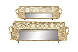 Deco 79 Metal Mirror Tray, 22 by 20-Inch