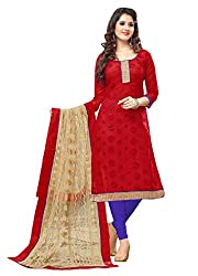 Viha Women's Chanderi Unstitched Dress Material (LL04_Red_Free Size)