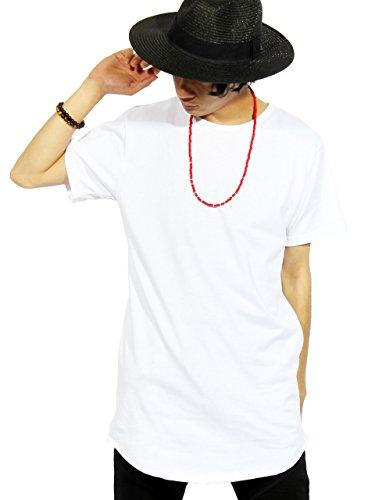 (エイト) 8(eight)5color ロング丈 半袖 Tシャツ 無地 日本製 カットソー 高品質 ストリート ホワイト L