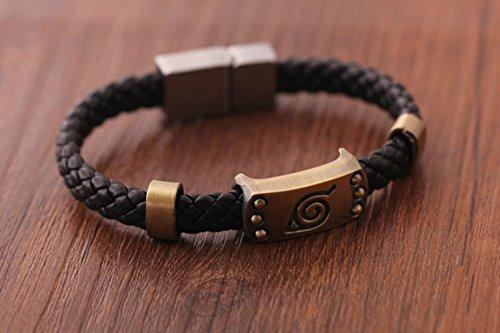 Naruto Konoha Logo Leather Magnetic Buckle Bracelet