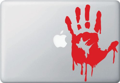 Zombie Hand Lifesize - Left Hand - (RED) - Vinyl Laptop or Macbook Decal (5.75