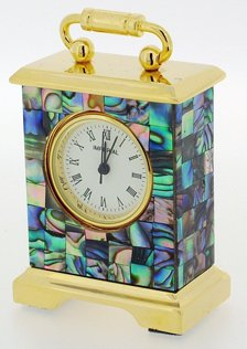 Miniature Premium Range Gold Plated & Genuine Paua Shell Carriage Clock in a Gift Box that can be Personalised FREE ENGRAVING