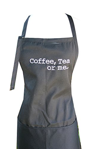 "Black ""Coffee, Tea Or Me"" Embroidered Apron"