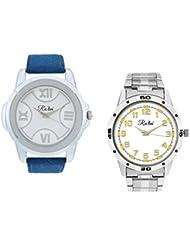 Ra'len Analog White And White Dial Men's Watch - GR-W-0019 (Pack Of 2)