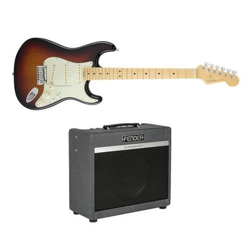 Fender American Elite Stratocaster Electric Guitar, Maple Fingerboard, Gloss Polyurethane, 3-Color Sunburst - Bundle With Fender Bassbreaker 15 Amplifier Combo 120V, Gray Tweed (Fender Elite Stratocaster compare prices)
