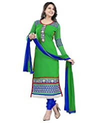 Surat Tex Green Color Embroidered Pure Georgette Semi-Stitched Salwar Suit