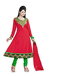 Parinaaz fashion Red Faux Georgette Unstitched Dress Material