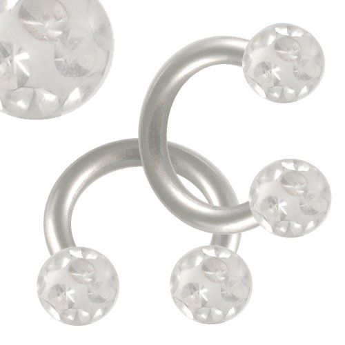 16g 16 gauge 1.2mm 1/4 6mm steel eyebrow lip bars ear tragus horseshoe rings circular barbells Clear Crystal Ferido balls EABP Body Piercing Jewellery 2pcs
