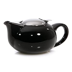 HuesNBrews Infuser 24-Ounce Black Teapot, 1 Pack
