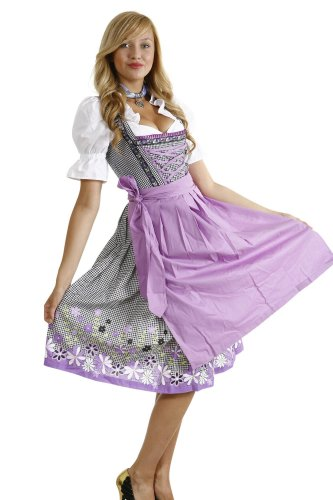 [Dirndl Womens 3-Piece Gingham Dirndl with A Floral Pattern On The Hem 42 Black Floral] (Gingham Womens Costumes)