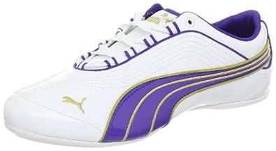 PUMA Women's Soleil Patent Leather Sneaker,White/Liberty Blue/Team Gold,9.5 B US